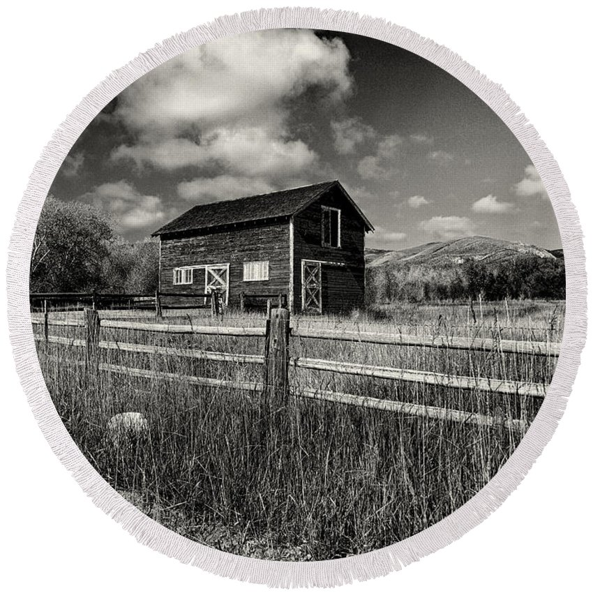 Utah Round Beach Towel featuring the photograph Autumn Barn Black And White by Joshua House