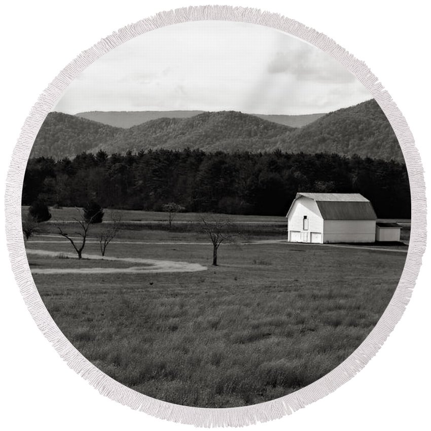 Barn Round Beach Towel featuring the photograph Autumn Barn In Green Bank Wv Bw by Kathleen K Parker