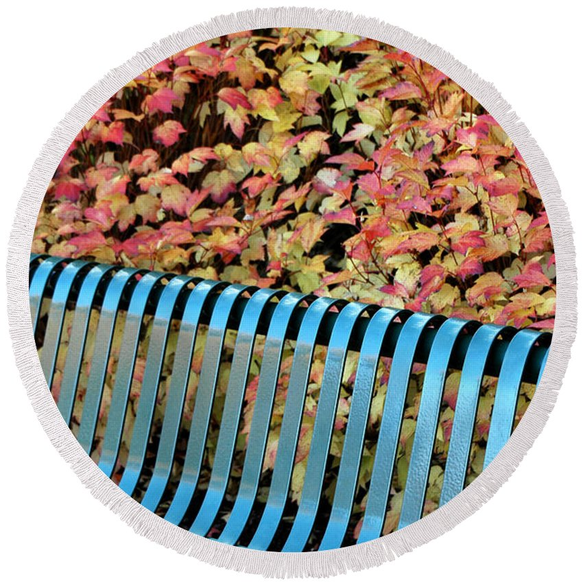 Autumn Round Beach Towel featuring the photograph Autumn Blue Bench by Mike Nellums
