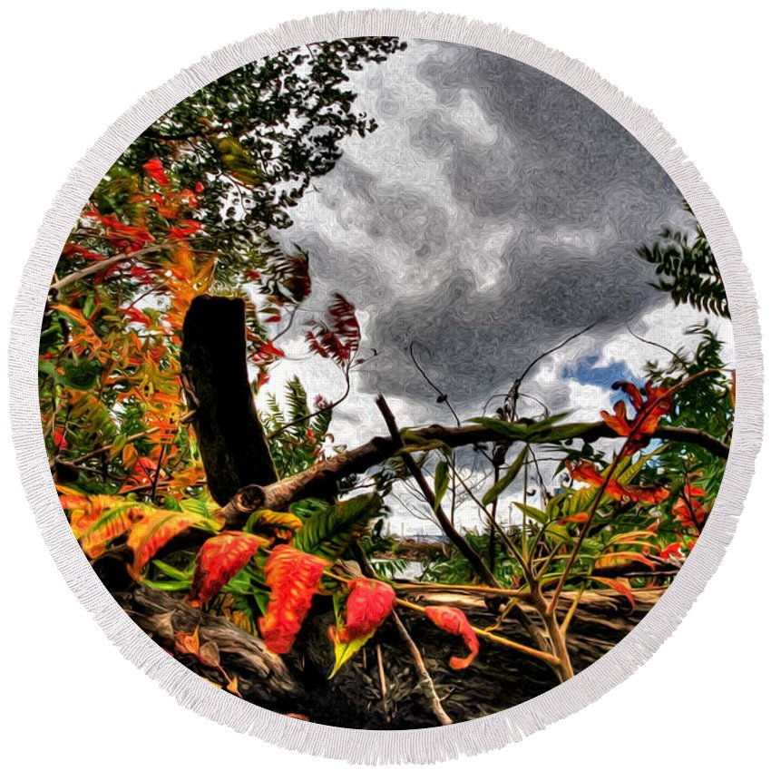 Round Beach Towel featuring the photograph Autumn Breeze Through The Trees  Alt by Michael Frank Jr