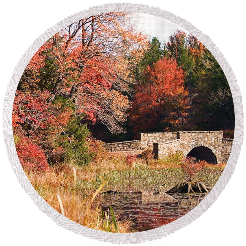 Autumn Round Beach Towel featuring the photograph Autumn Bridge by David Rucker