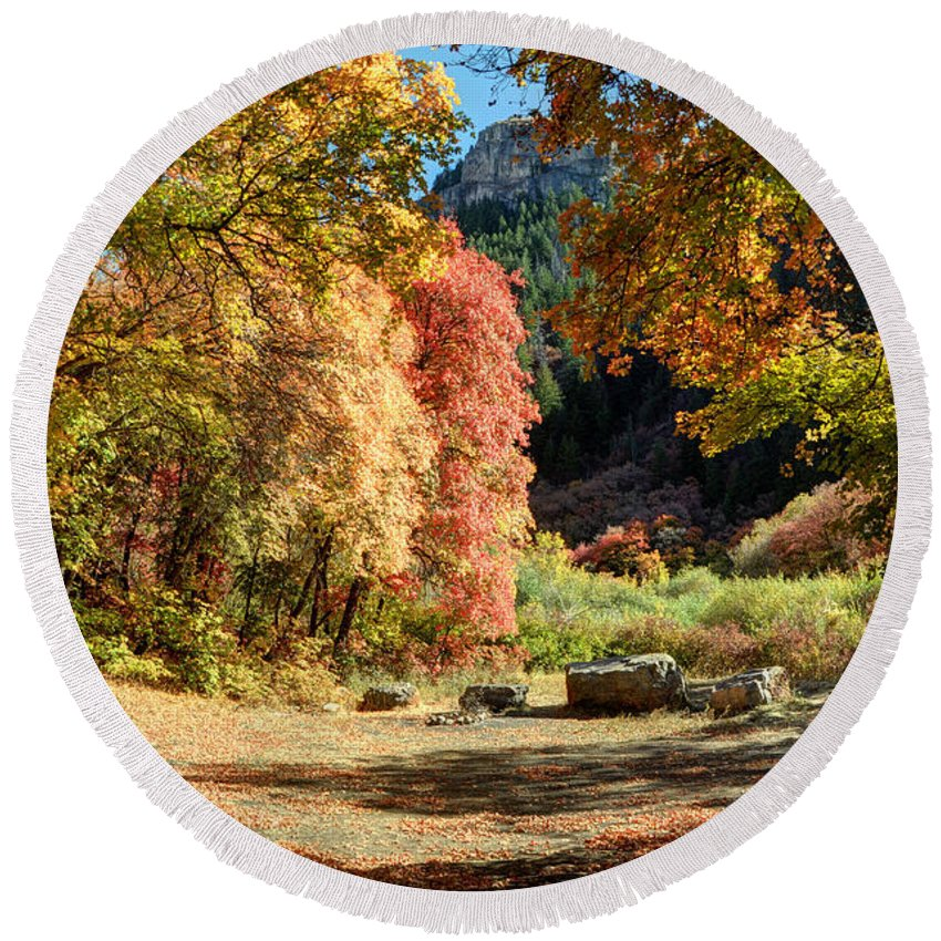 Mountain Round Beach Towel featuring the photograph Autumn Campground In Blacksmith Fork Canyon - Utah by Gary Whitton