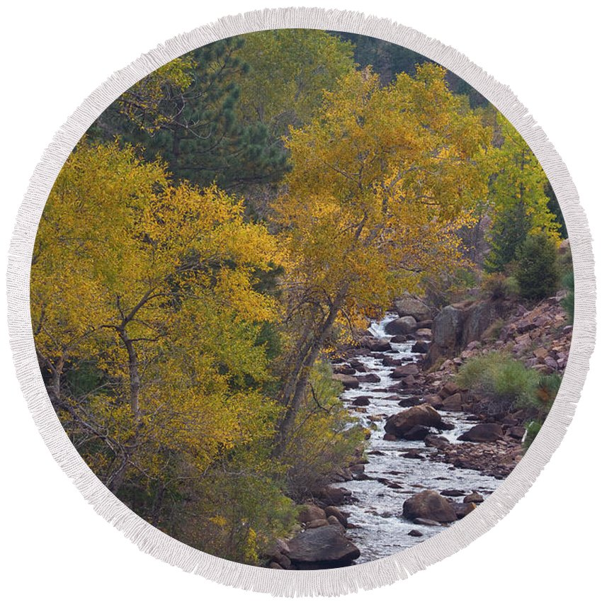 Canyon Round Beach Towel featuring the photograph Autumn Canyon Colorado Scenic View by James BO Insogna
