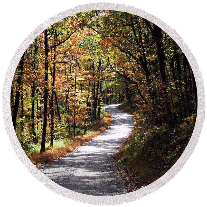 Autumn Round Beach Towel featuring the photograph Autumn Country Lane by David Dehner