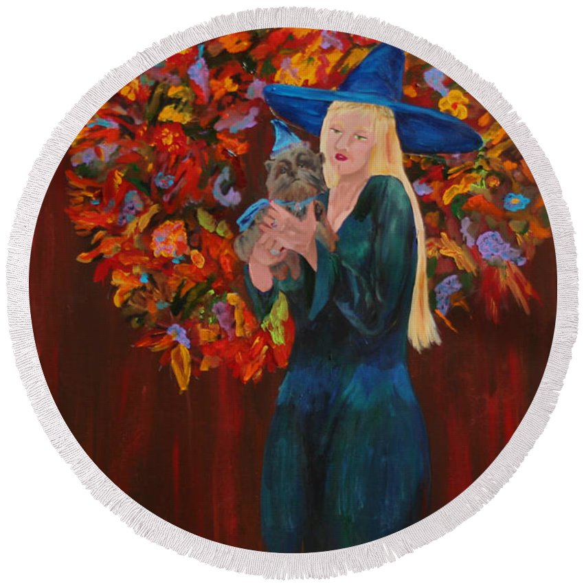 Gail Daley Round Beach Towel featuring the painting Autumn Fantasy by Gail Daley