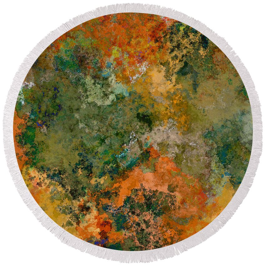 Abstract Round Beach Towel featuring the digital art Autumn Forest Tree Tops Abstract by Debbie Portwood