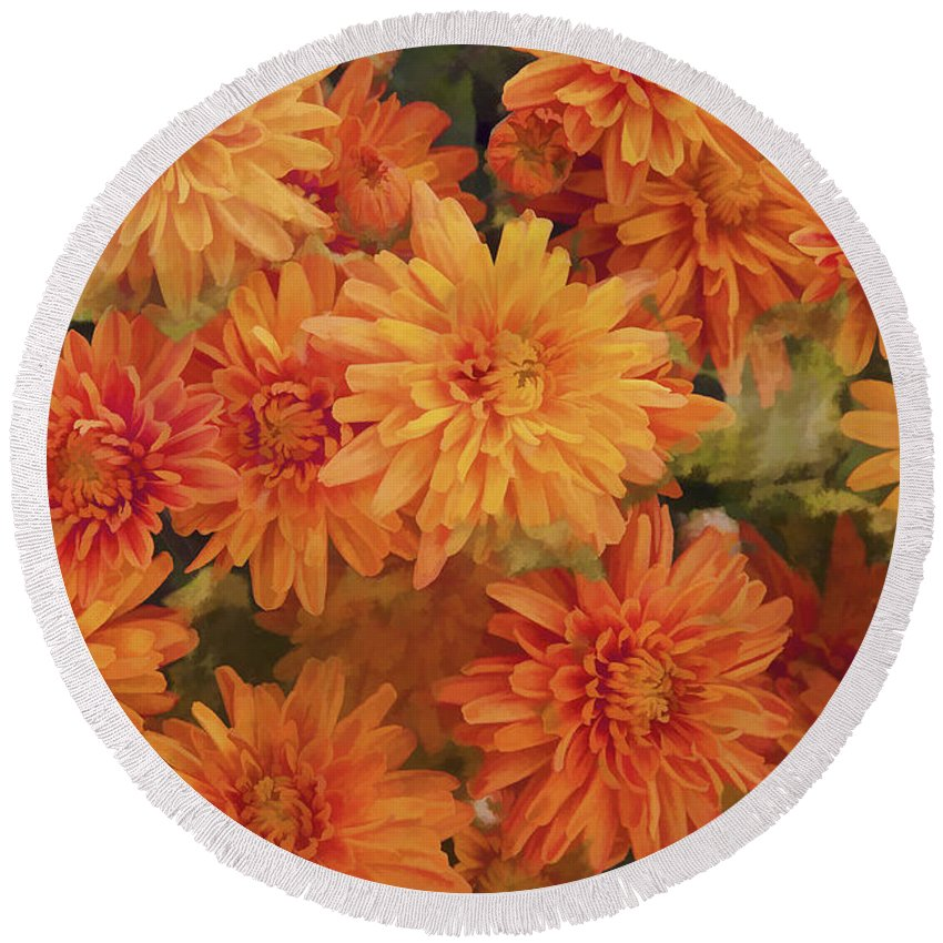 Chrysanthemums Gold Round Beach Towel featuring the photograph Autumn Garden Impressions by Regina Geoghan