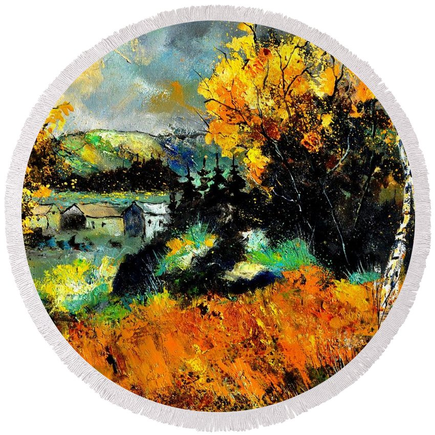 Landscape Round Beach Towel featuring the painting Autumn In Ardennes 672101 by Pol Ledent