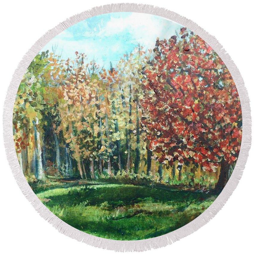 Backyard Round Beach Towel featuring the painting Autumn In My Backyard by Shana Rowe Jackson
