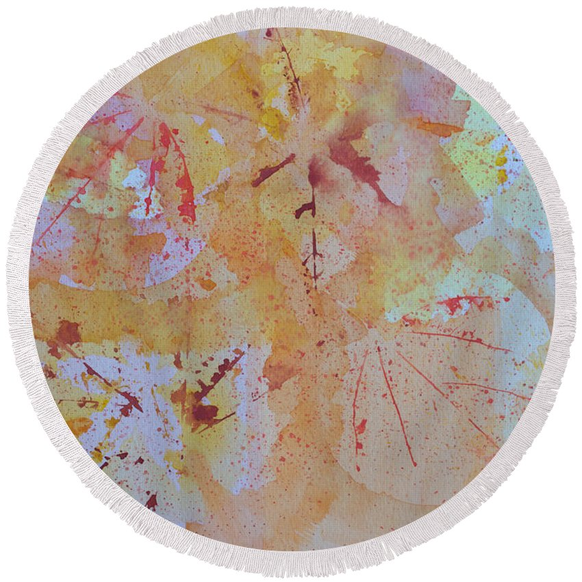 Watercolor Round Beach Towel featuring the painting Autumn Leaf Splatter by Heidi Smith