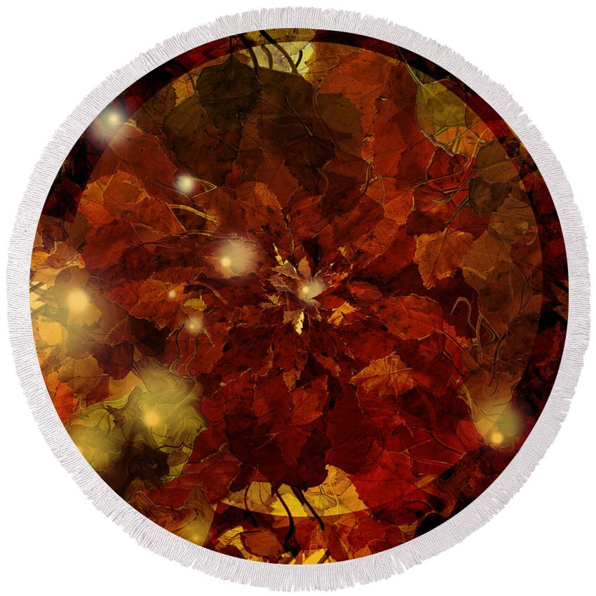 Autumn Round Beach Towel featuring the photograph Autumn Leaves Abstract by Grant Wilson
