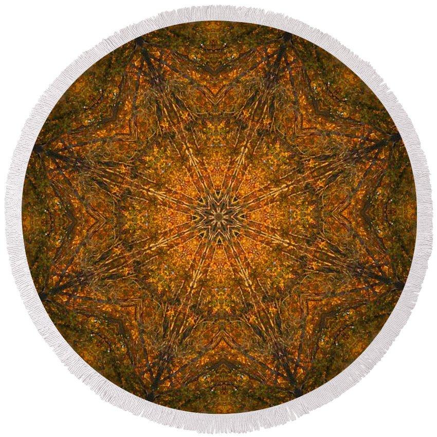 Mandala Round Beach Towel featuring the digital art Autumn Mandala 2 by Rhonda Barrett