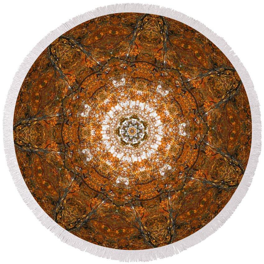 Mandala Round Beach Towel featuring the digital art Autumn Mandala 3 by Rhonda Barrett