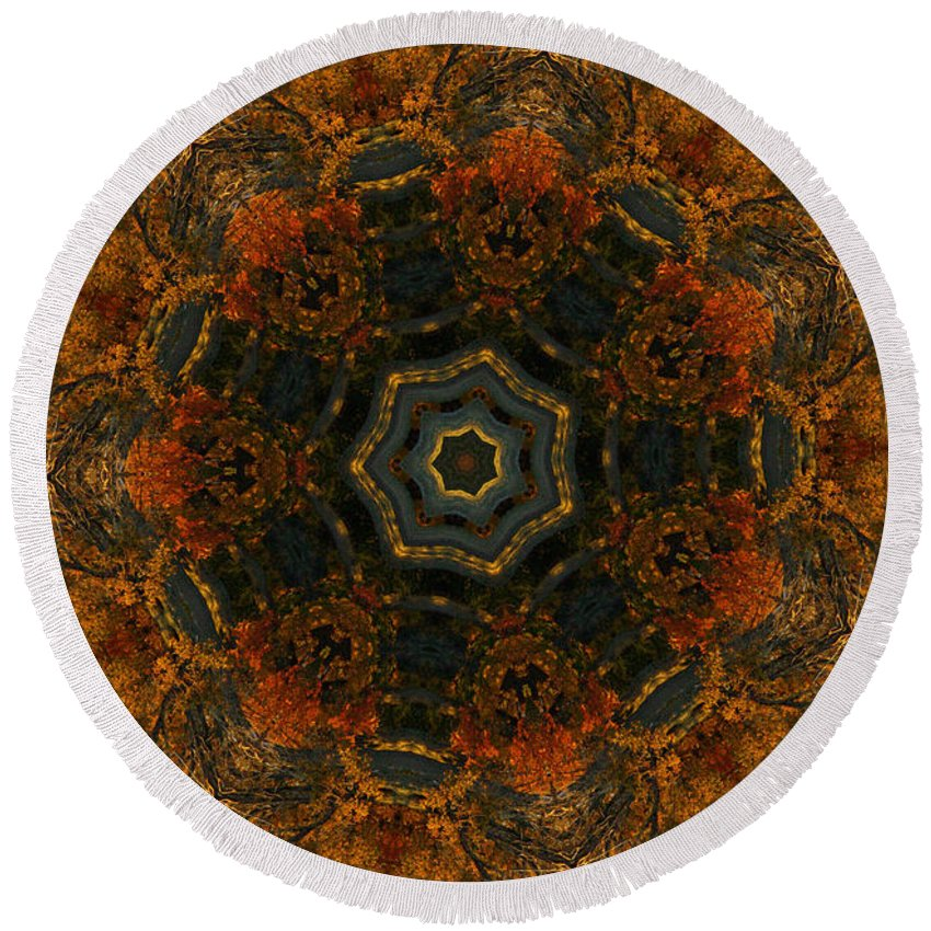 Mandala Round Beach Towel featuring the digital art Autumn Mandala 5 by Rhonda Barrett