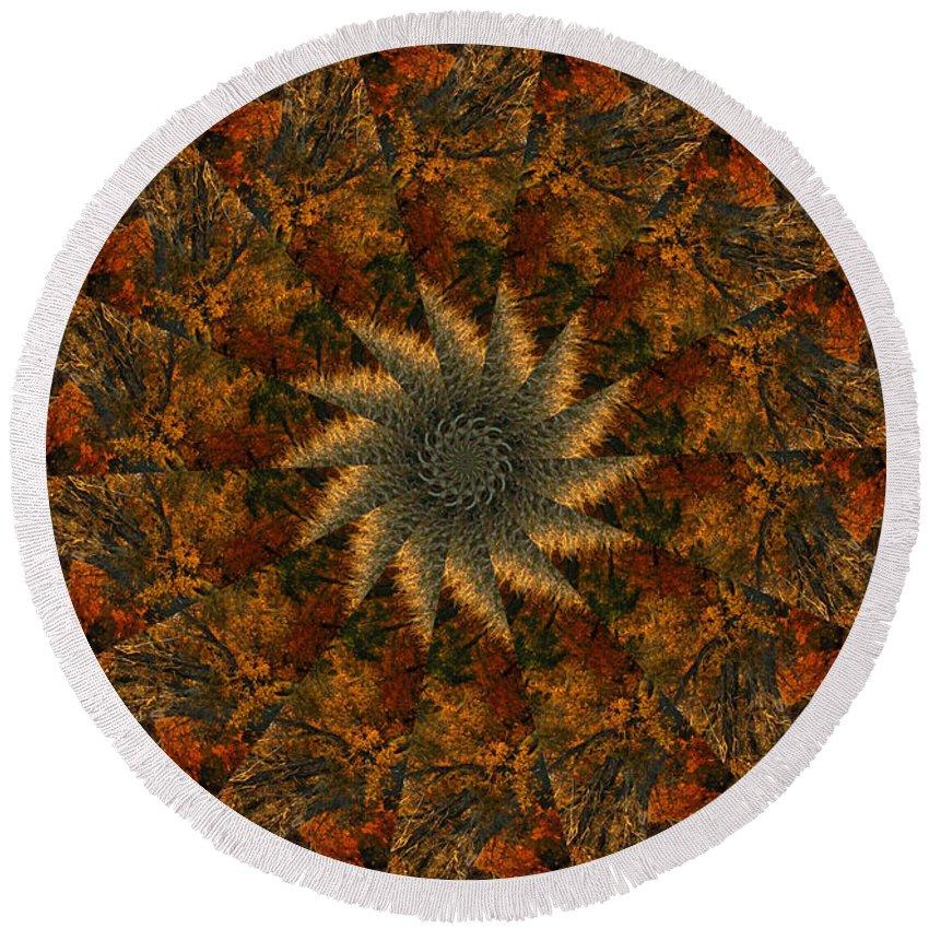 Mandala Round Beach Towel featuring the digital art Autumn Mandala 7 by Rhonda Barrett