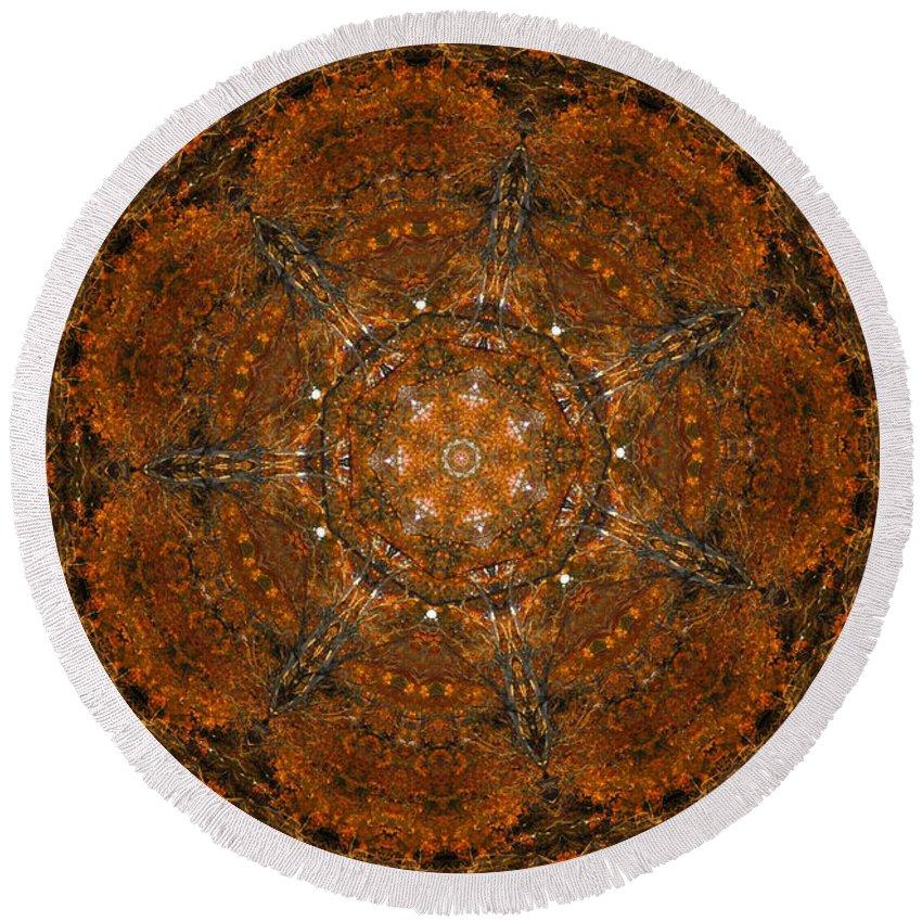 Mandala Round Beach Towel featuring the digital art Autumn Mandala 9 by Rhonda Barrett