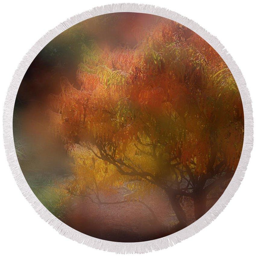 Autumn Scene Round Beach Towel featuring the mixed media Autumn Mist by Carol Cavalaris
