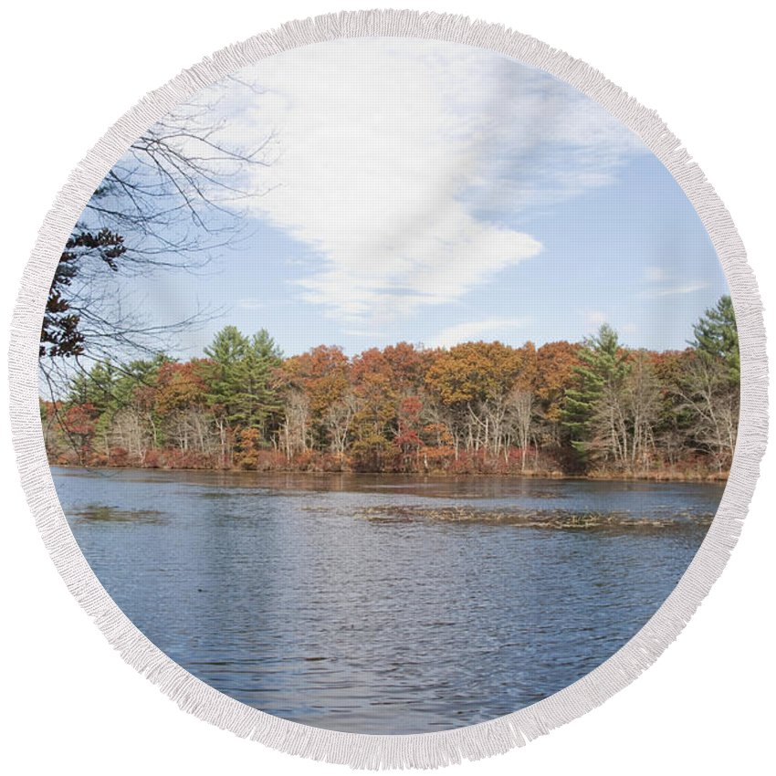 Photography Round Beach Towel featuring the photograph Autumn On Mill Pond by Steven Natanson