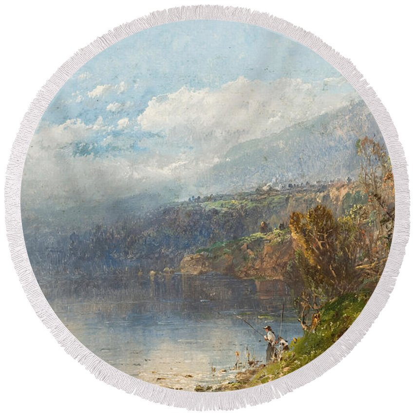 Autumn On The Androscoggin (oil On Canvas)fall; Seasons; Autumnal; River; North America; North American; Maine; New Hampshire; New England; Landscape; Mist; Misty; Wild; Wilderness; Remote; Male; Fisherman; Fishing; Solitary; Riverbank; Landscape Round Beach Towel featuring the painting Autumn On The Androscoggin by William Sonntag