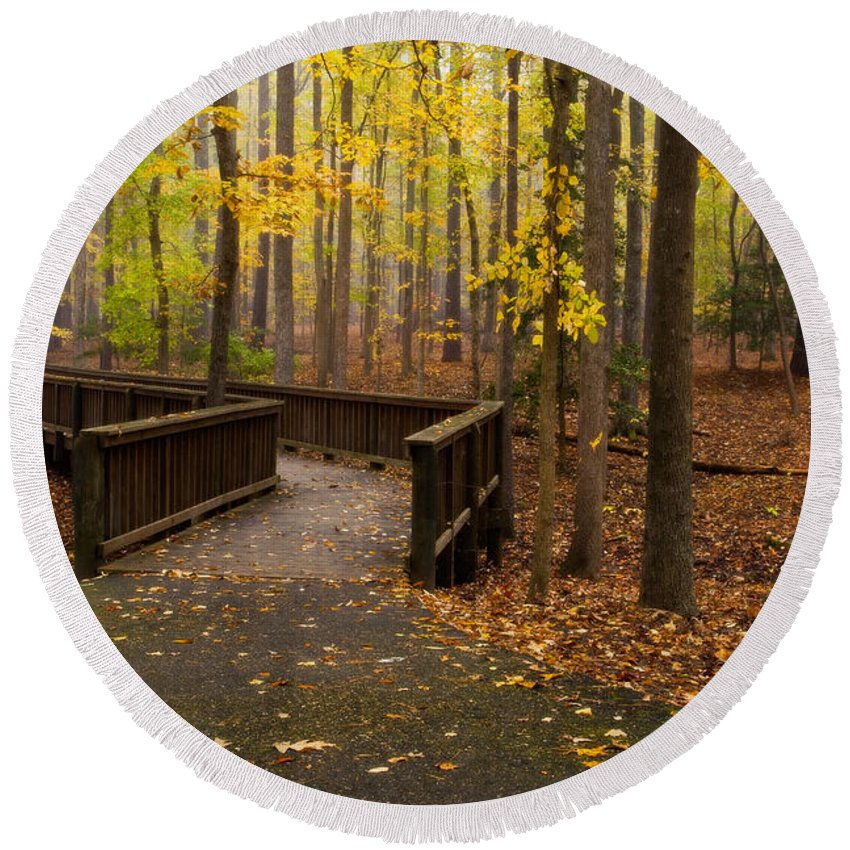 Bridge Round Beach Towel featuring the photograph Autumn Path by Amy Jackson