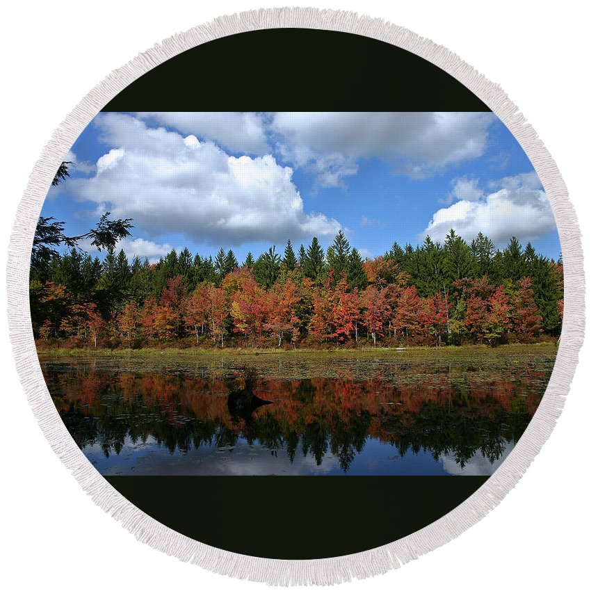 Autumn Round Beach Towel featuring the photograph Autumn Reflection by David Rucker