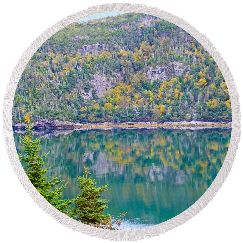 Autumn Round Beach Towel featuring the photograph Autumn Reflections by Barbara Griffin
