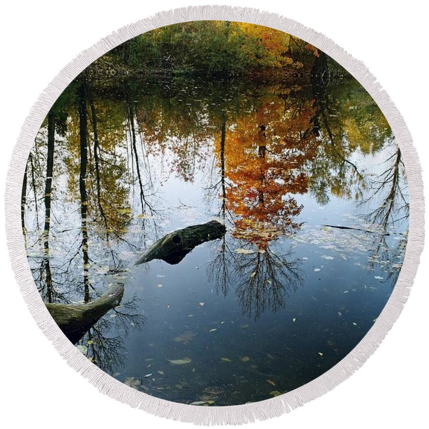 Colorful Round Beach Towel featuring the photograph Autumn Reflections by Dariusz Gudowicz
