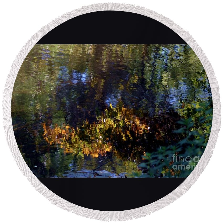 Water Round Beach Towel featuring the photograph Autumn Reflections by Living Color Photography Lorraine Lynch