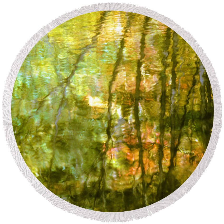 Autumn Round Beach Towel featuring the photograph Autumn Reflections New Hampshire by Boyd Norton