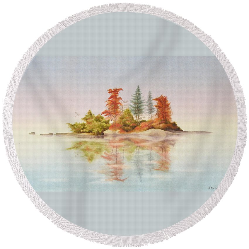 Autumn Round Beach Towel featuring the painting Autumn Reflections by Robert Boast Cornish