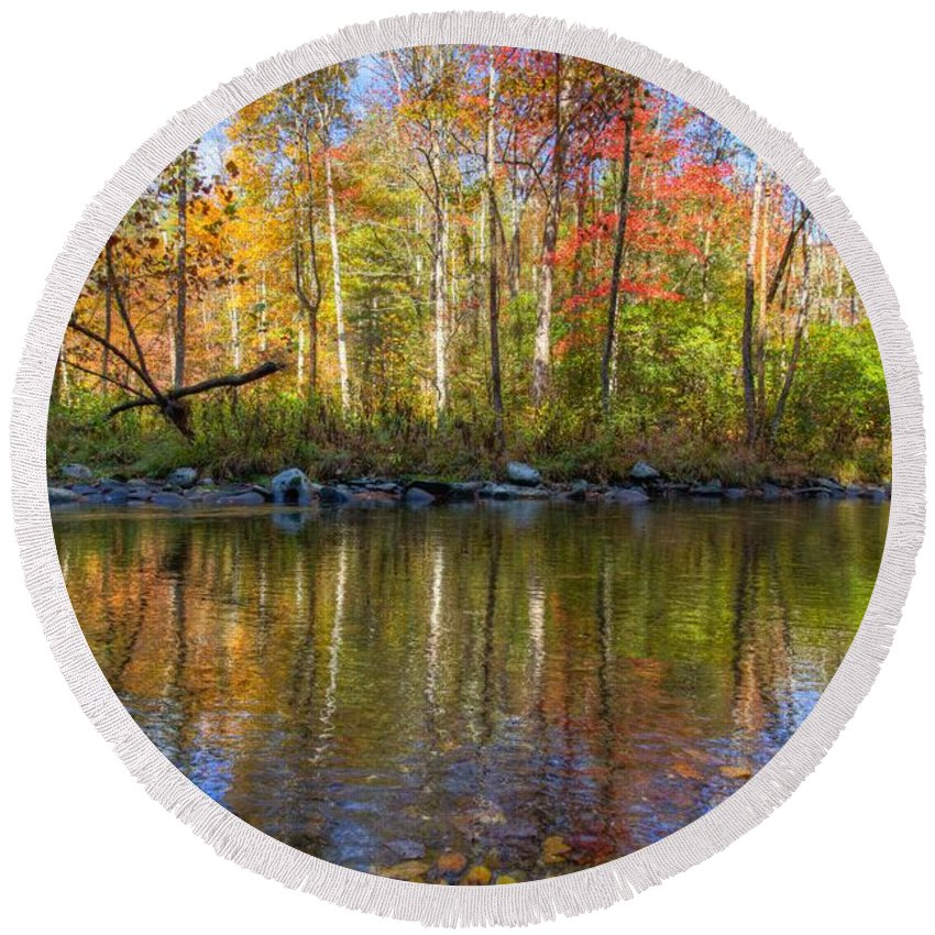 20 Mile Cascade Round Beach Towel featuring the photograph Autumn Stream by Debra and Dave Vanderlaan