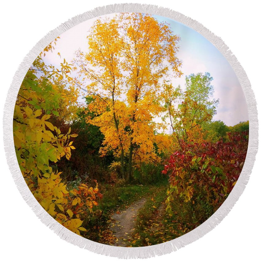 Nature Round Beach Towel featuring the photograph Autumn Trail by Kay Novy