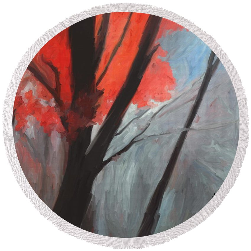 Autumn Round Beach Towel featuring the digital art Autumn Trees by Kume Bryant