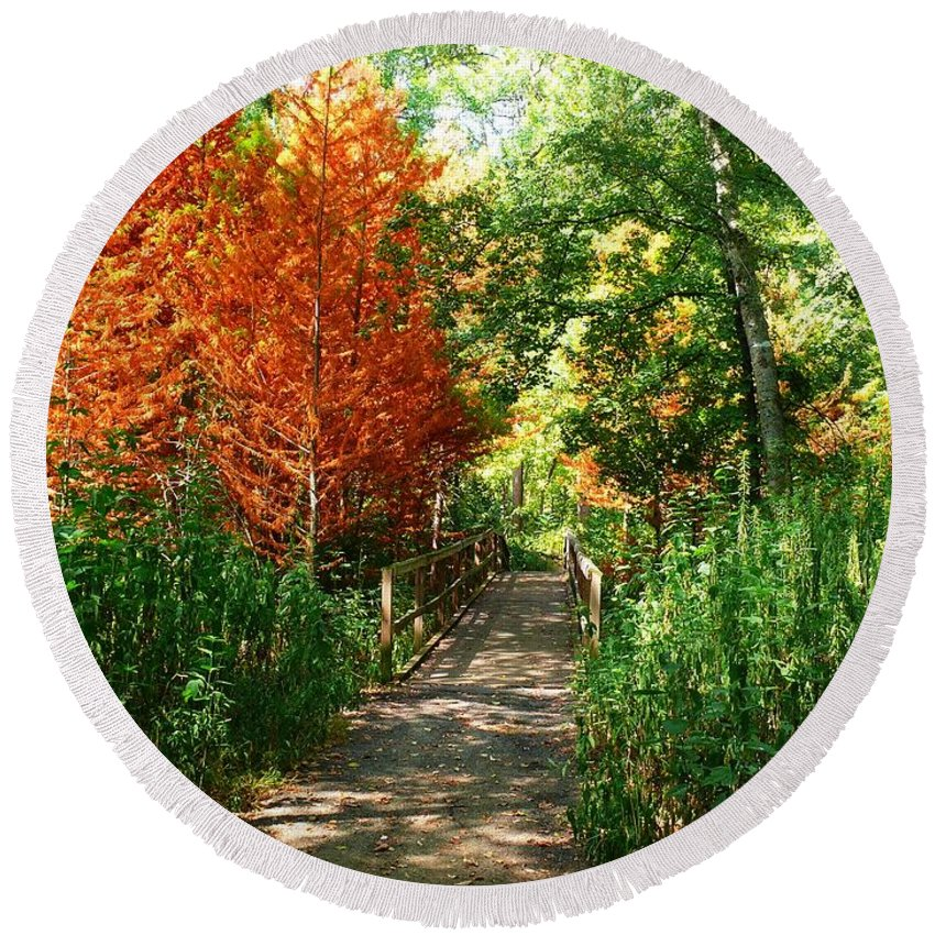 Trail In Autumn Round Beach Towel featuring the photograph Autumn Walk by Robert Brown