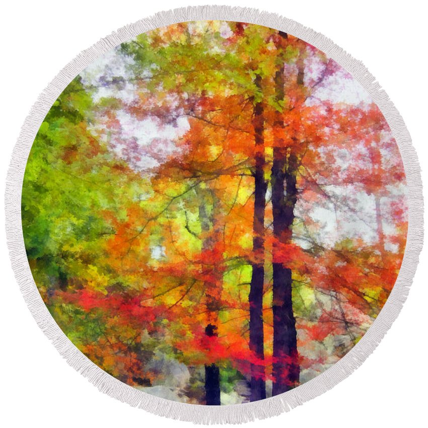 Tree Round Beach Towel featuring the photograph Autumnal Rainbow by Angelina Tamez