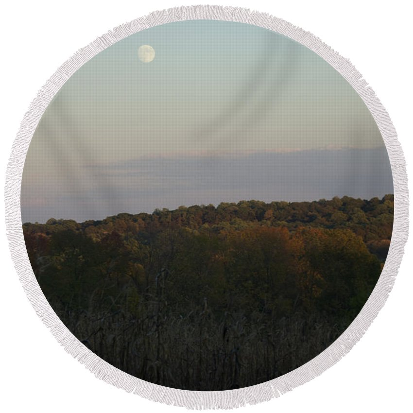 Autumn Round Beach Towel featuring the photograph Autumn's Harvest Under The Moon by Tom Luca
