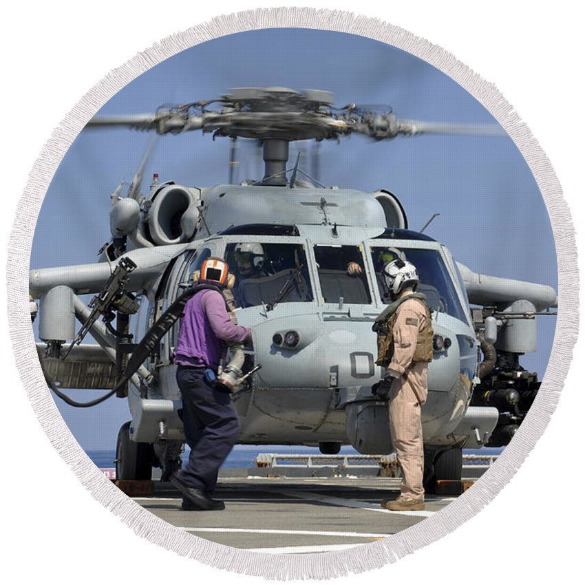 Maritime Round Beach Towel featuring the photograph Aviation Boatswain's Mates Run by Stocktrek Images