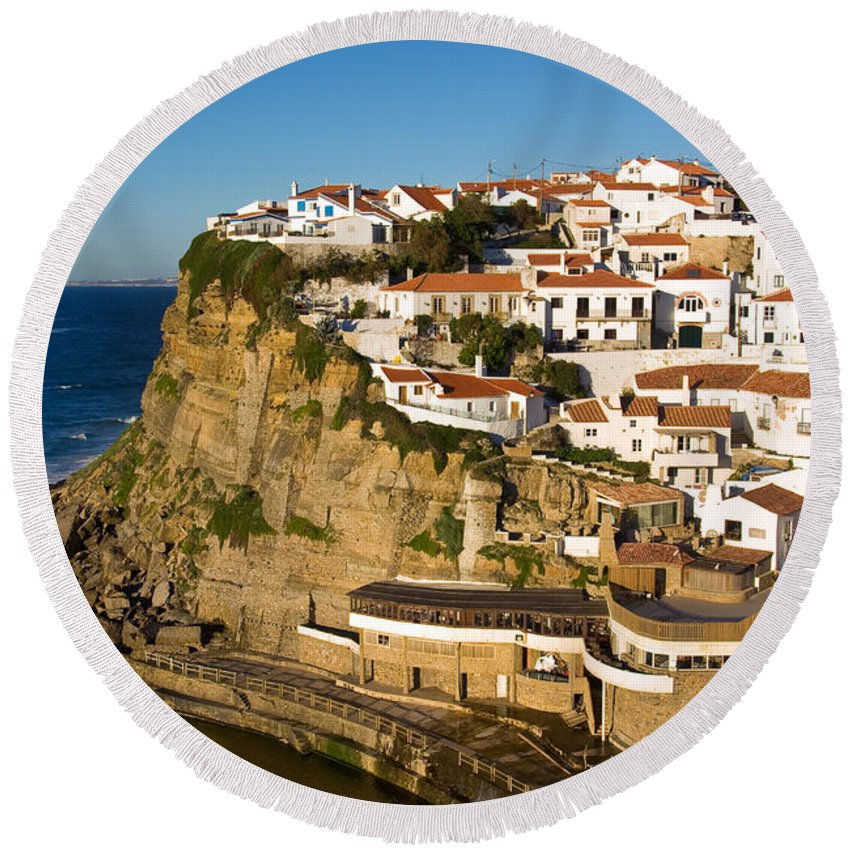 Architecture Round Beach Towel featuring the photograph Azenhas Do Mar by Carlos Caetano