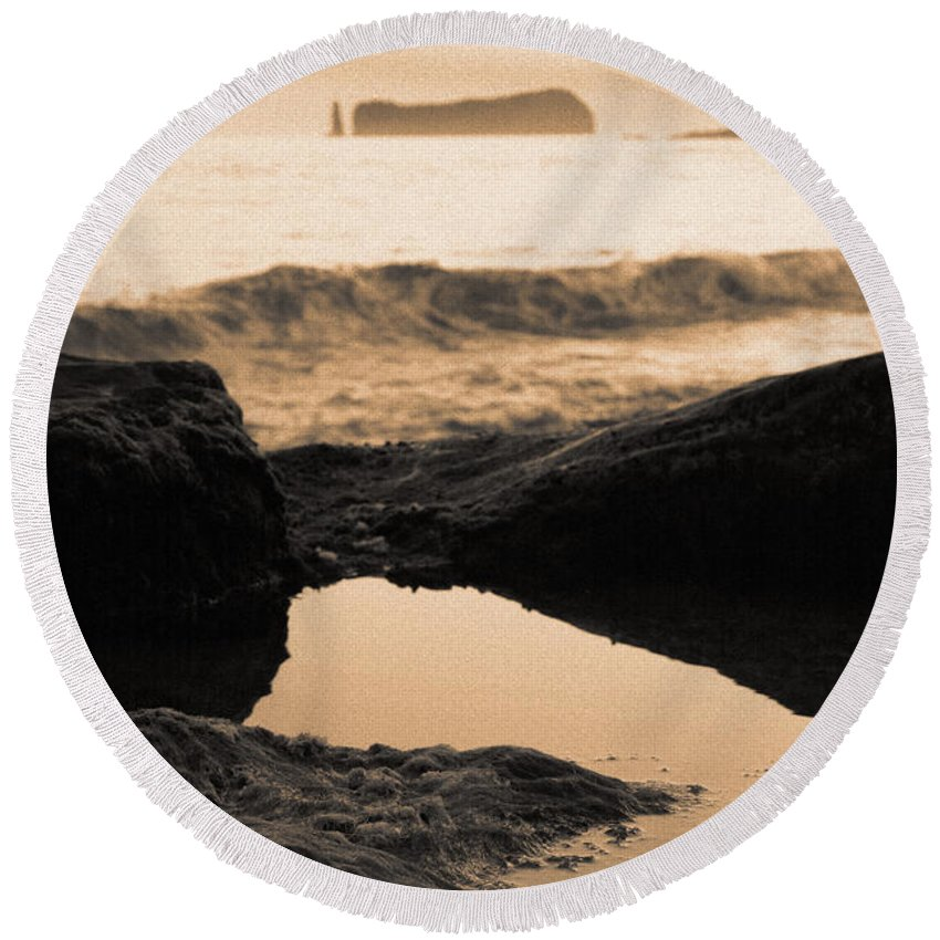 Azores Round Beach Towel featuring the photograph Azores Islands Seascape by Gaspar Avila