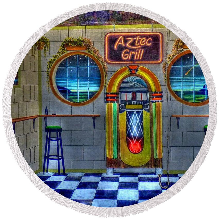 Aztec Grill Round Beach Towel featuring the photograph Aztec Grill Route 66 by Tommy Anderson