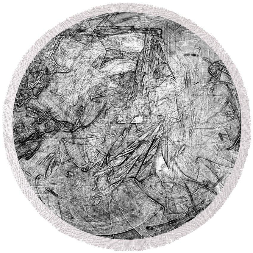 Architecture Drawings Round Beach Towel featuring the digital art B-w 0506 by Marek Lutek