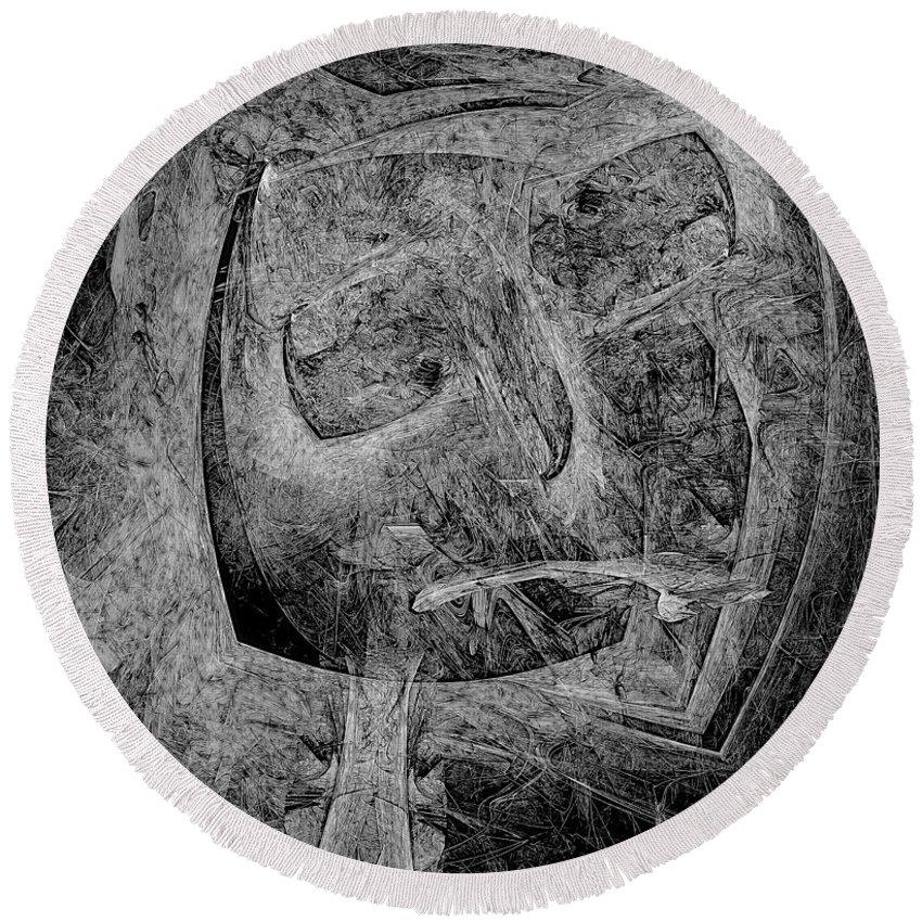 Graphics Round Beach Towel featuring the digital art Abstraction 533 - Marucii by Marek Lutek