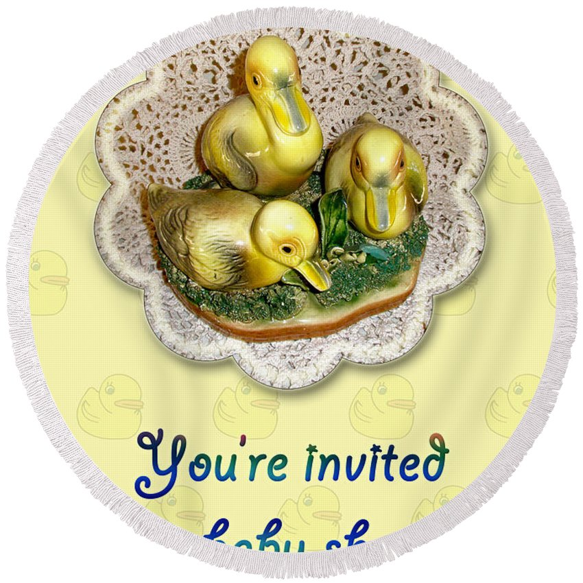 Baby Round Beach Towel featuring the photograph Baby Shower Invitation - Yellow Ducklings Figurine by Mother Nature