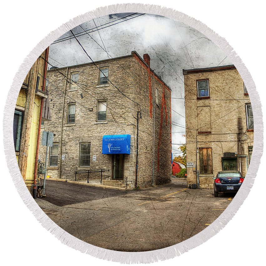 Acrylic Prints Round Beach Towel featuring the photograph Back Alley Napanee by John Herzog