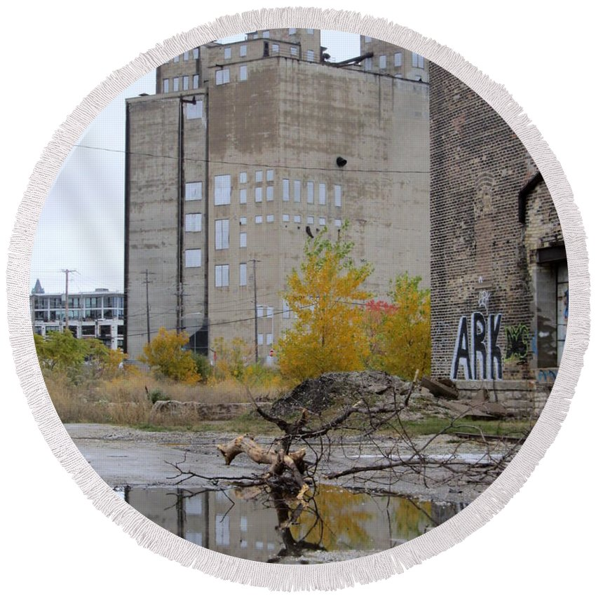 Milwaukee Round Beach Towel featuring the photograph Back Of Warehouse Branches 1 by Anita Burgermeister