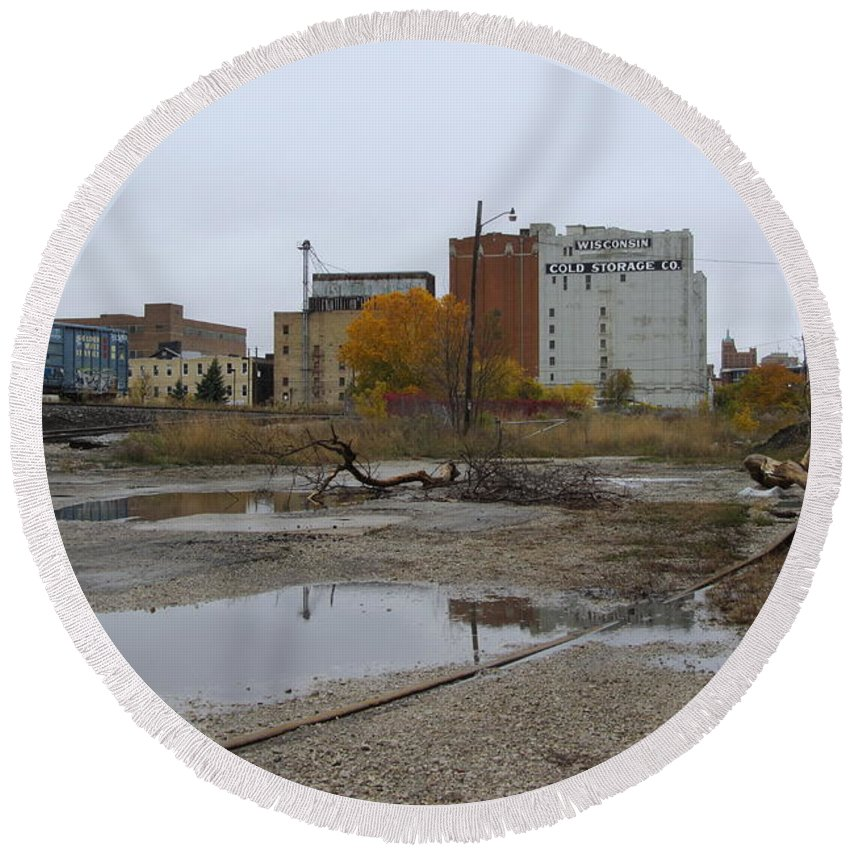 Milwaukee Round Beach Towel featuring the photograph Back Of Warehouse Cold Storage 1 by Anita Burgermeister