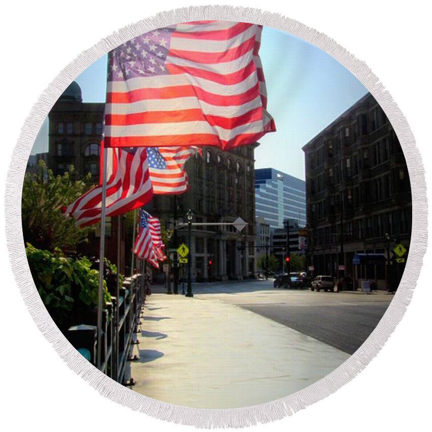 Milwaukee Round Beach Towel featuring the photograph Backlit Flag by Anita Burgermeister