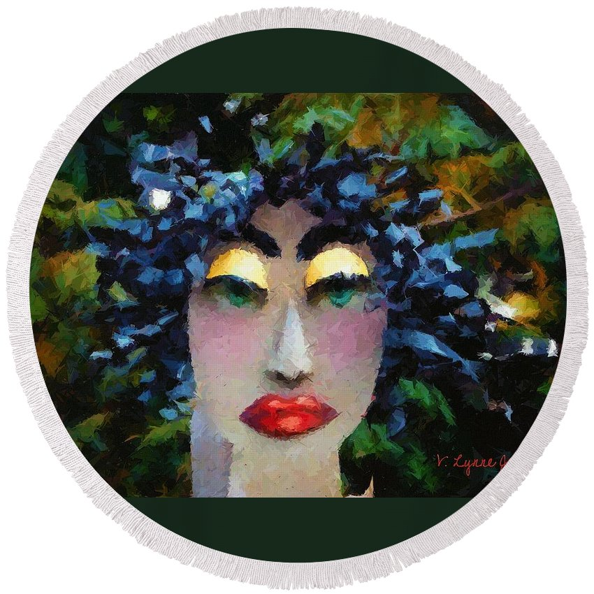 Abstract Round Beach Towel featuring the painting Bad Hair Day by Lynne Jenkins