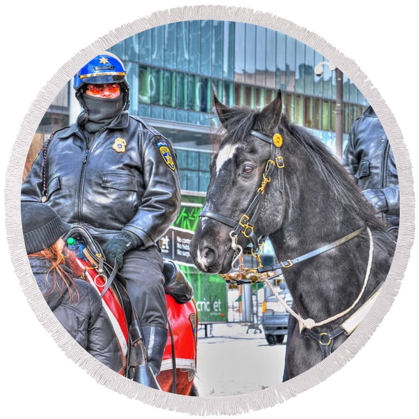 Round Beach Towel featuring the photograph Badges And Horses by Michael Frank Jr
