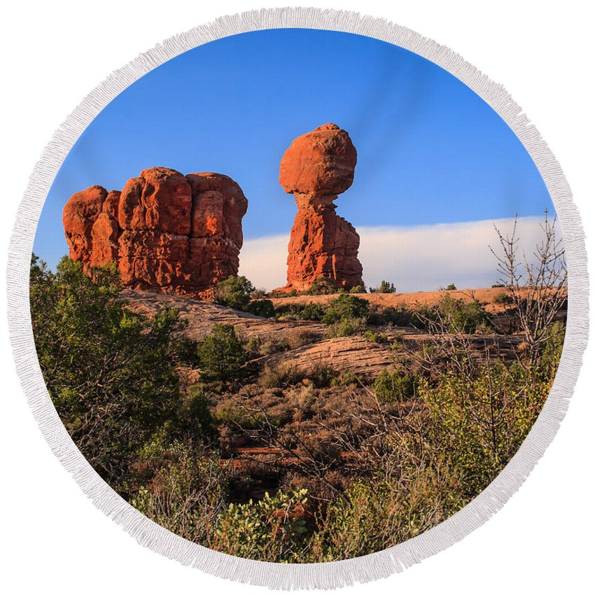 Balance Round Beach Towel featuring the photograph Balance Rock I by Robert Bales